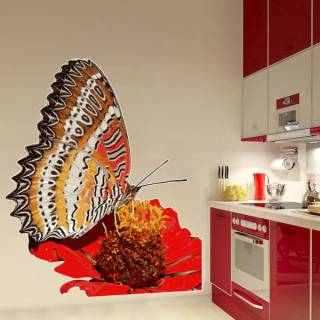 Wandtattoo Wallprint Schmetterling Exotic Butterfly Blume Ranke