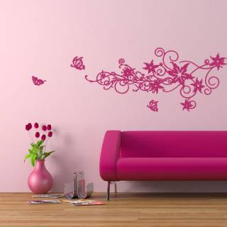 Wandtattoo Deko Blumen-Schmetterling-Ornament