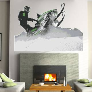 Wandtattoo Wandaufkleber Wallprint Snowmobil Action Nr.1