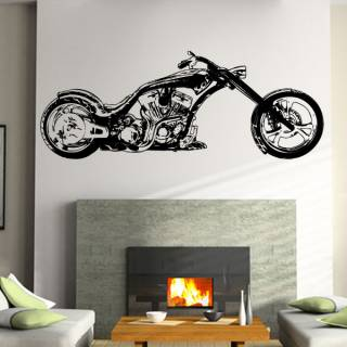 Wandtattoo Custom Chopper Flames Motorrad