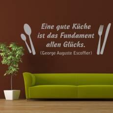 Wandtattoo Zitat Escoffier Küche Glück