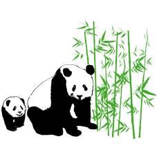 Wandtattoo Kinderzimmer Panda Aufkleber Bambus Kinder