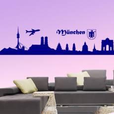 Wandtattoo Skyline München Silhouette