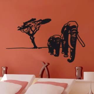Wandtattoo Afrika Elefanten Kinder Baum