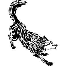 Wandtattoo Tribal Wolf