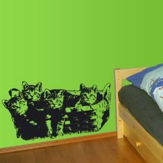 Wandtattoo Katzen Korb Kinderzimmer