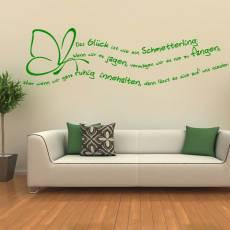 Wandtattoo Zitat - Glück ist wie ein Schmetterling