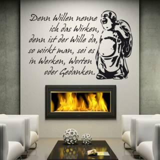 Wandtattoo Zitat Buddha  Wille und Wirken