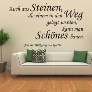 Wandtattoo Zitat Goethe aus Steinen im Weg etwas Schönes bauen Nr.2