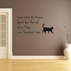 Wandtattoo Gott schuf Katzen als Tiger zum Streicheln